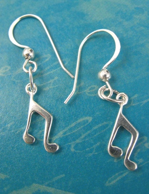 Music Notes Silver Earrings-0