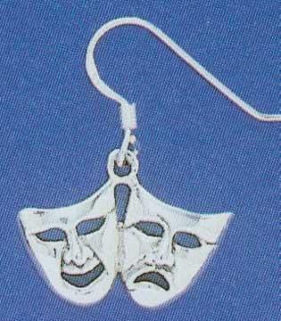 Large Comedy/Tragedy Dangle Earrings-4533