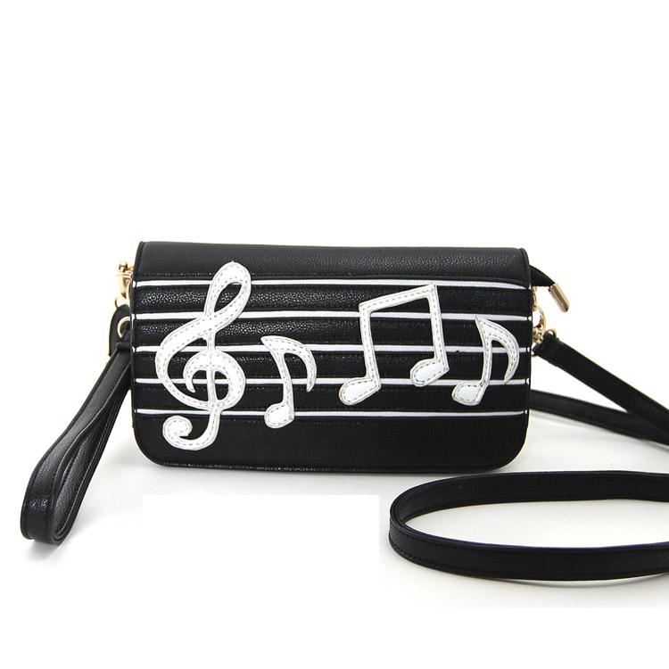 Music Notes Wristlet Shoulder Bag -0