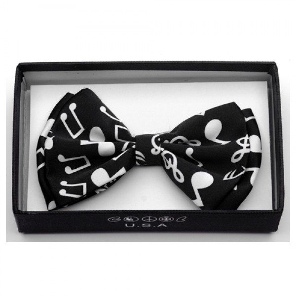 Black/White Music Notes Bow Tie-0