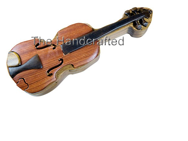 Wood Puzzle Box-Violin -0