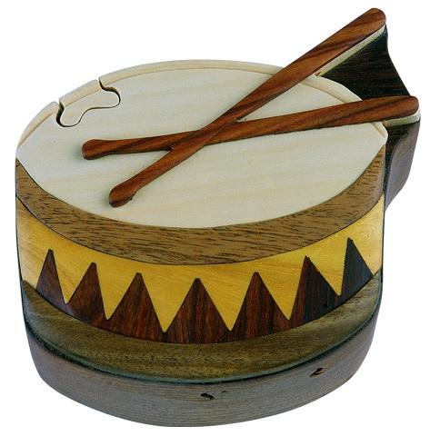 Wood Puzzle Box-Drum -0