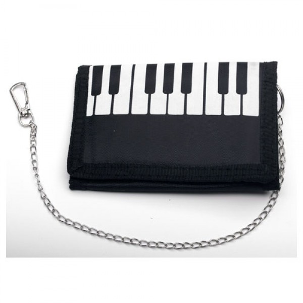 Black and White Piano Print wallet with chain-0