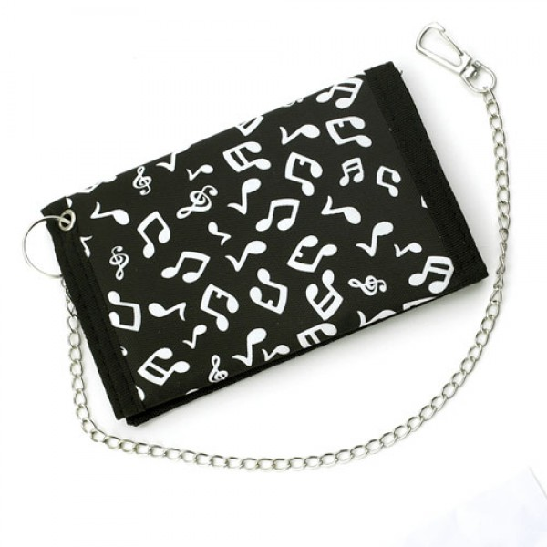 Black and White Music Note Wallet with Chain-0