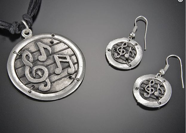 Pewter Music Necklace and Earring Set -0