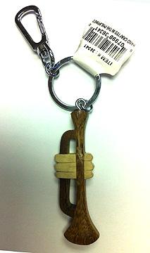 Musical Trumpet Clip Wood Keychain-0