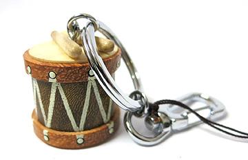 Music Drum Clip Wood Keychain -0