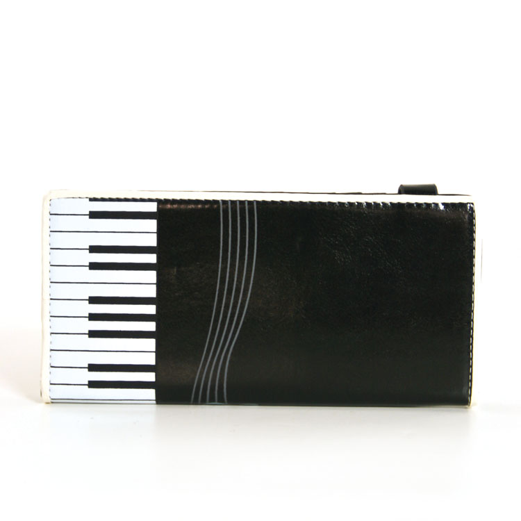 Faux Patent Leather Music Notes Keyboard Piano Bi Fold Wallet -103273