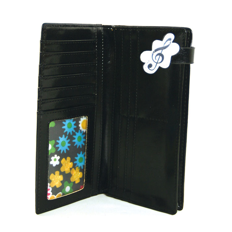 Faux Patent Leather Music Notes Keyboard Piano Bi Fold Wallet -103276