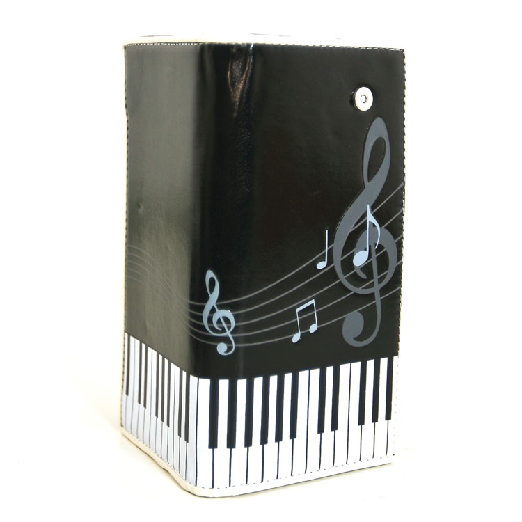 Faux Patent Leather Music Notes Keyboard Piano Bi Fold Wallet -0
