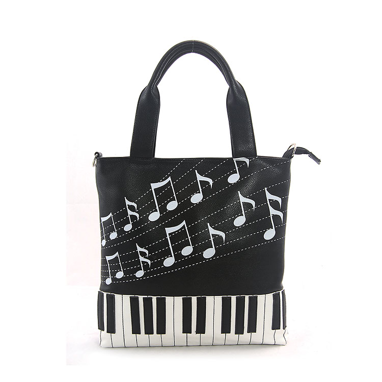 Keyboard and Music Note Tote Bag-0