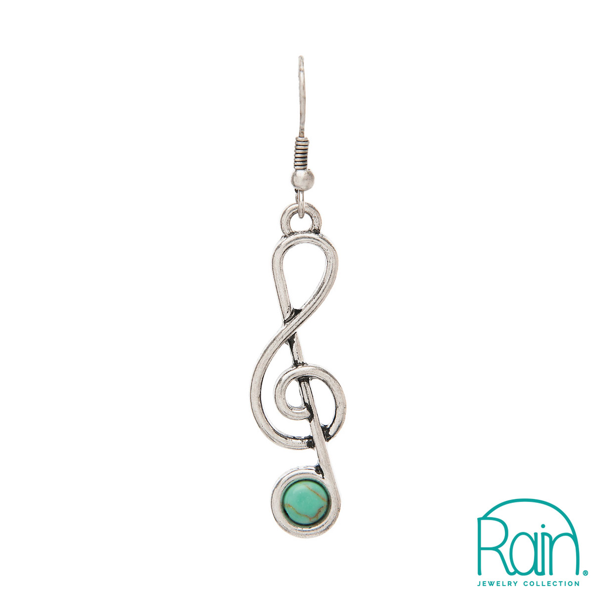 Treble Clef Earrings - Turquoise-0