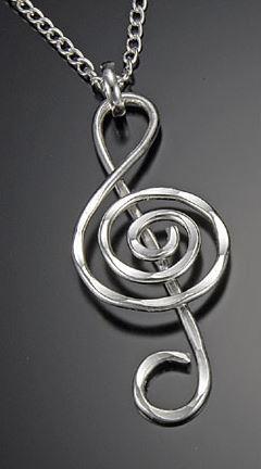 Silver Treble Clef Necklace -0