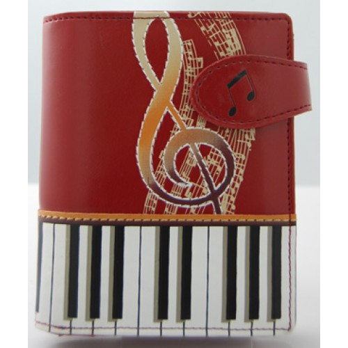 Keyboard Melody Red Short Wallet -0