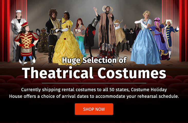 Need Theatrical costumes? Shop our costumes at Costumes Holiday House.